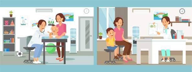 ilustraciones, imágenes clip art, dibujos animados e iconos de stock de pediatría cuidado clínica plano vector ilustración - pediatra