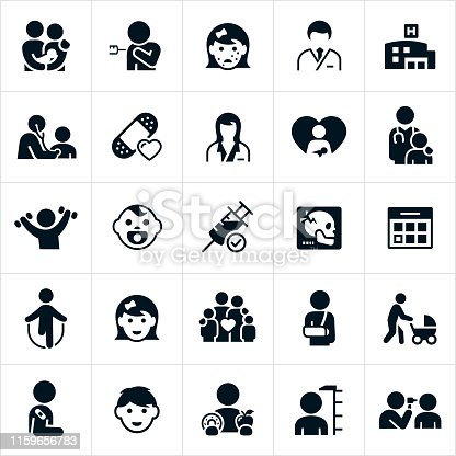 A set of icons related to the pediatrics field of medicine. The icons include pediatricians, patients, kids, boy, girl, health care, doctor, parents, immunization, chickenpox, hospital, checkup, stethoscope, bandage, female doctor, male doctor, baby, newborn, doctor and patient, exercise, health, x-ray, calendar appointment, family, broken arm, injury, baby in stroller, healthy eating, measuring height and a doctor checking the ears of a patient to name a few.