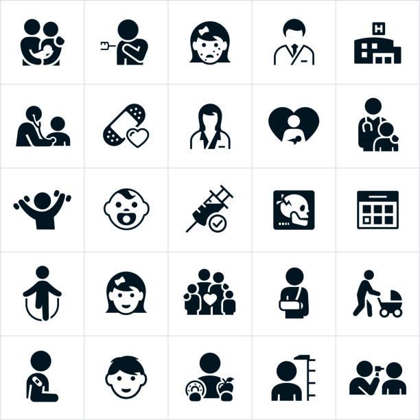 illustrazioni stock, clip art, cartoni animati e icone di tendenza di pediatrics icons - dottoressa