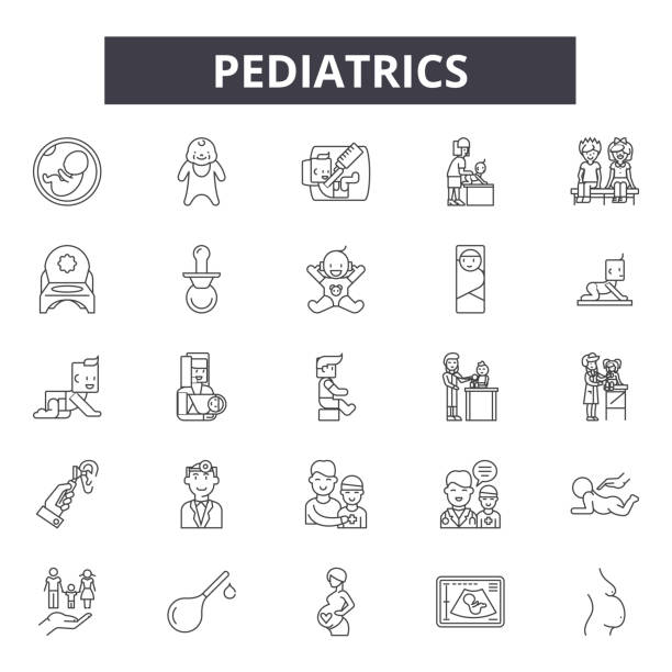pediatrics line icons, signs, vector set, linear concept, outline illustration - pediatrician stock illustrations