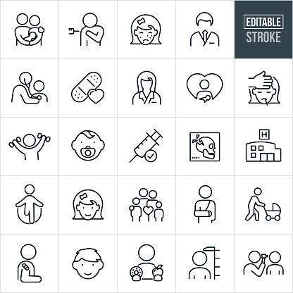 Pediatrics Thin Line Icons - Editable Stroke