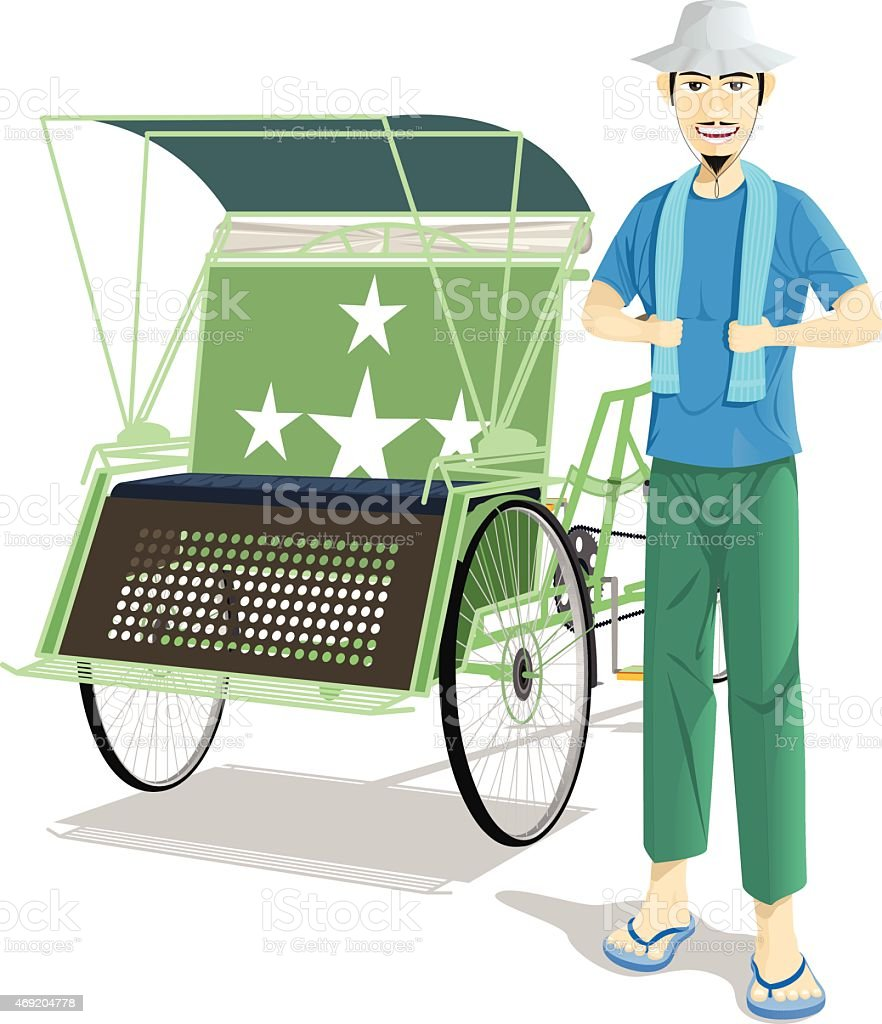 Pedicab Driver vector art illustration