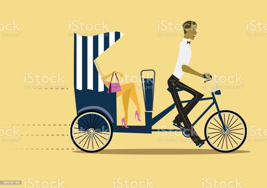 Pedicab with lady - flat illustration vector art illustration