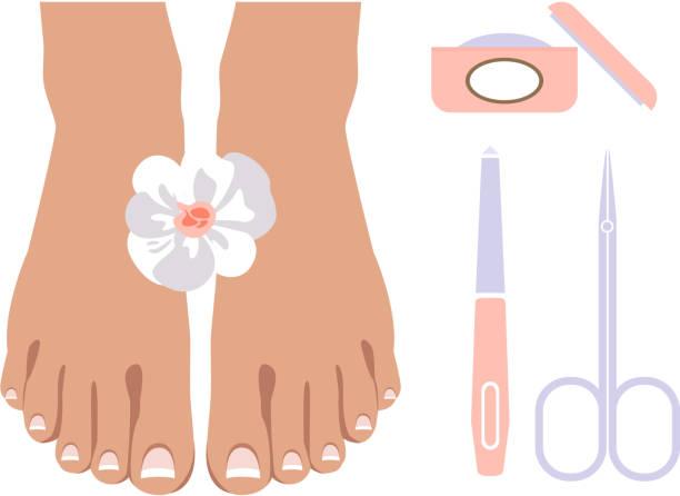 pediküre-symbole festgelegt, design-elemente für nagelstudio, spa salon vektor illustration auf weißem hintergrund - fußpflegeprodukte stock-grafiken, -clipart, -cartoons und -symbole