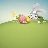 peekig out easter bunny