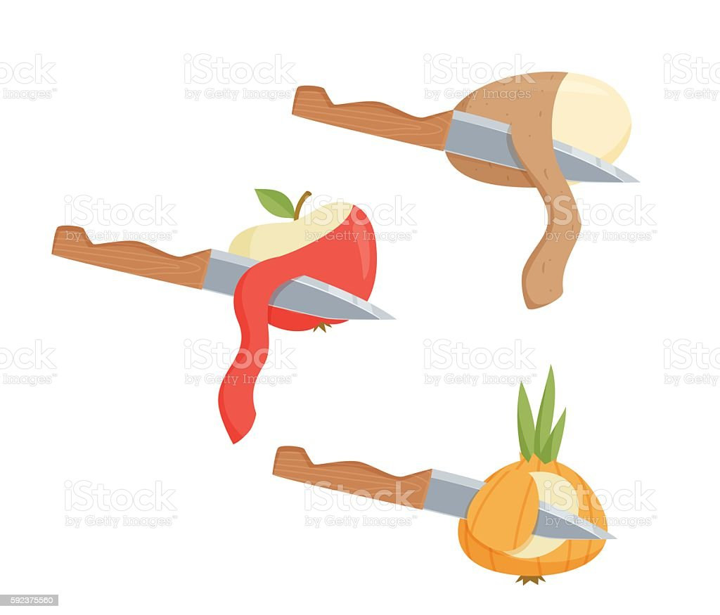 Peel vegetables and fruit vector art illustration