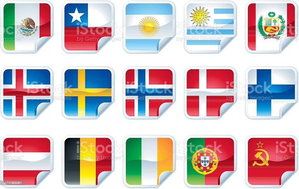 Peladas etiqueta Flags - ilustración de arte vectorial