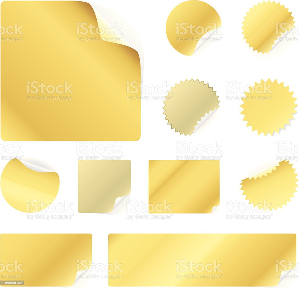Peeling gold stickers royalty-free stock vector art