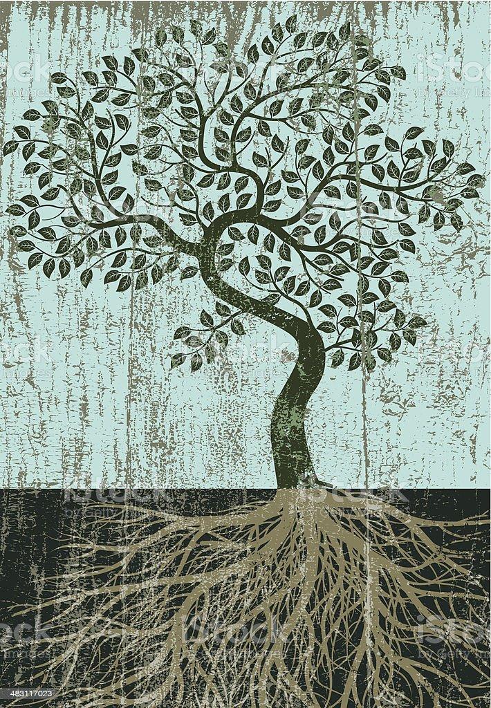 Peeling paint bent tree royalty-free stock vector art