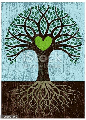 istock Peeling paint big root heart tree 1069501440