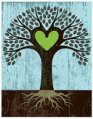 A little heart shaped tree with a grungy texture applied and a green heart at its centre, all on a wooden backdrop.