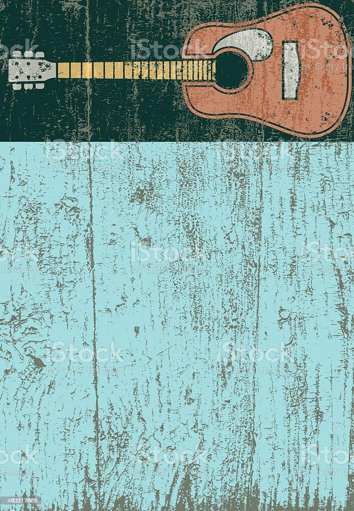 Peeling paint guitar vector art illustration