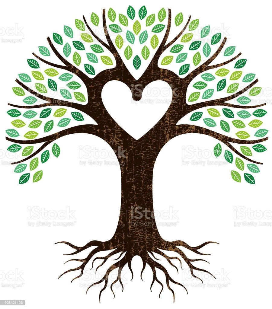 Peeling paint heart tree vector vector art illustration