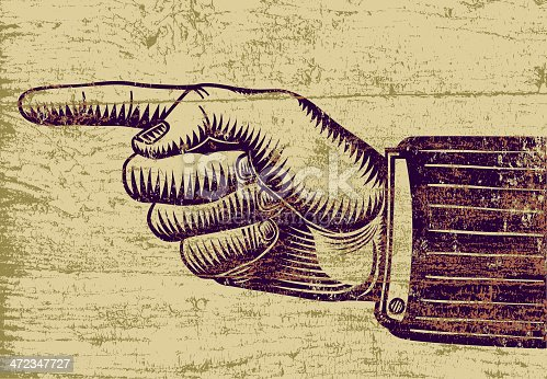 A pointing hand in a retro woodcut style, with a peeling paint texture applied.