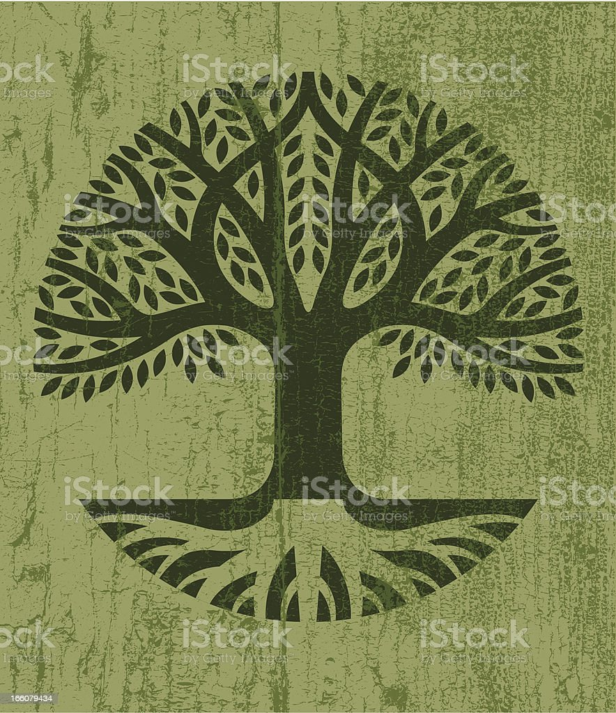 Peeling paint tree icon vector art illustration