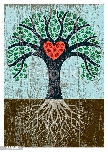istock Peeling paint tree illustration 1168893621