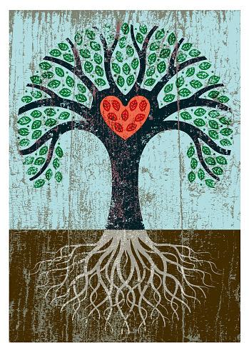 Peeling paint tree illustration