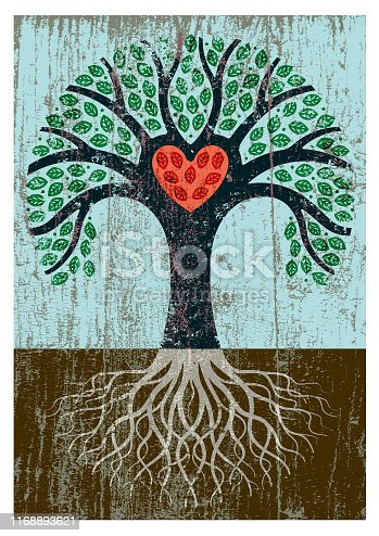 A little heart shaped tree with roots and a grungy texture applied and red heart