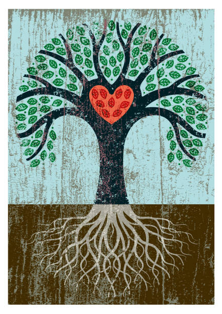 Peeling paint tree illustration A little heart shaped tree with roots and a grungy texture applied and red heart love emotion stock illustrations