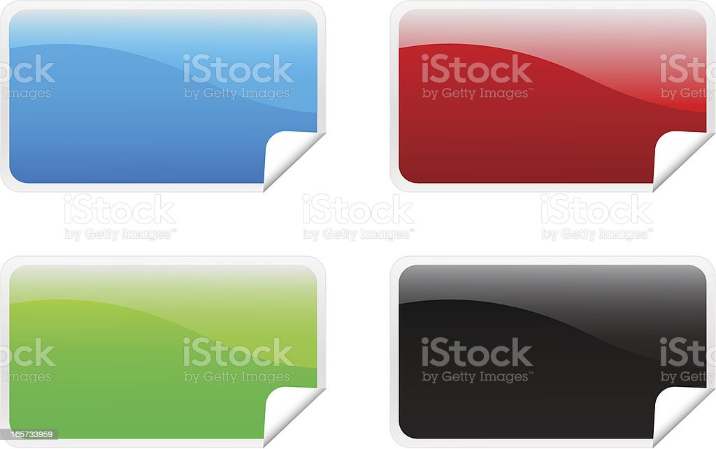 Peeling rectangle stickers royalty-free stock vector art