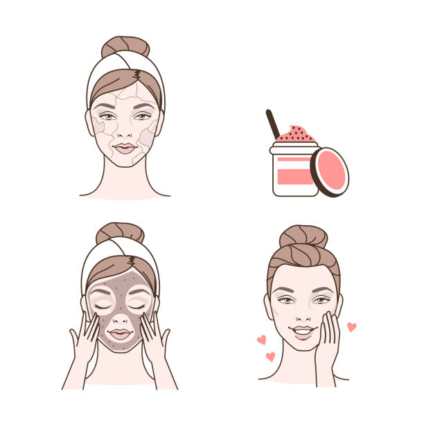 stockillustraties, clipart, cartoons en iconen met peeling - creme huid