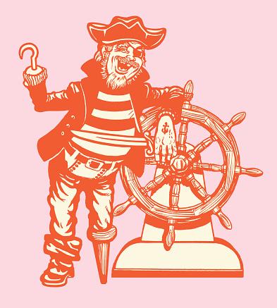 Peg Leg Pirate at The Wheel