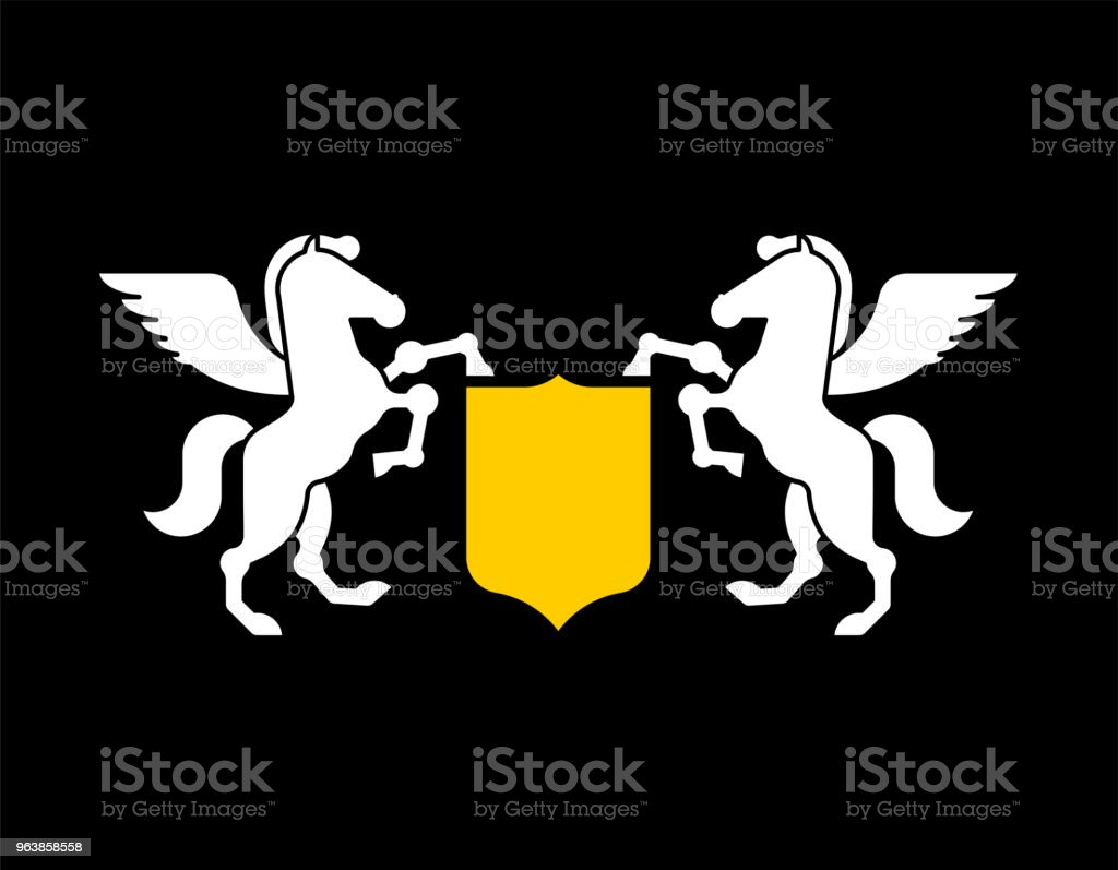 Pegasus and Shield heraldic symbol. Sign Animal for coat of arms. Royal Horse Vector illustration - Royalty-free Animal stock vector