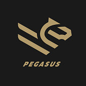 Pegasus, flying horse linear logo