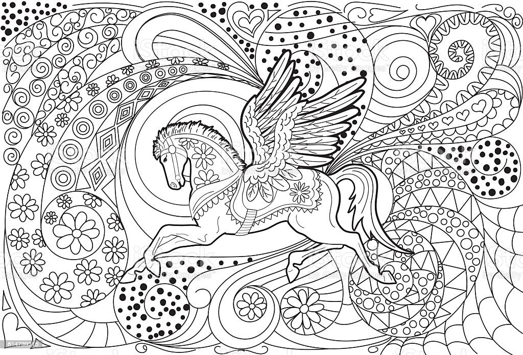 Pegasus Hand Drawn Adult Coloring Book Page Stok Vektor Sanati