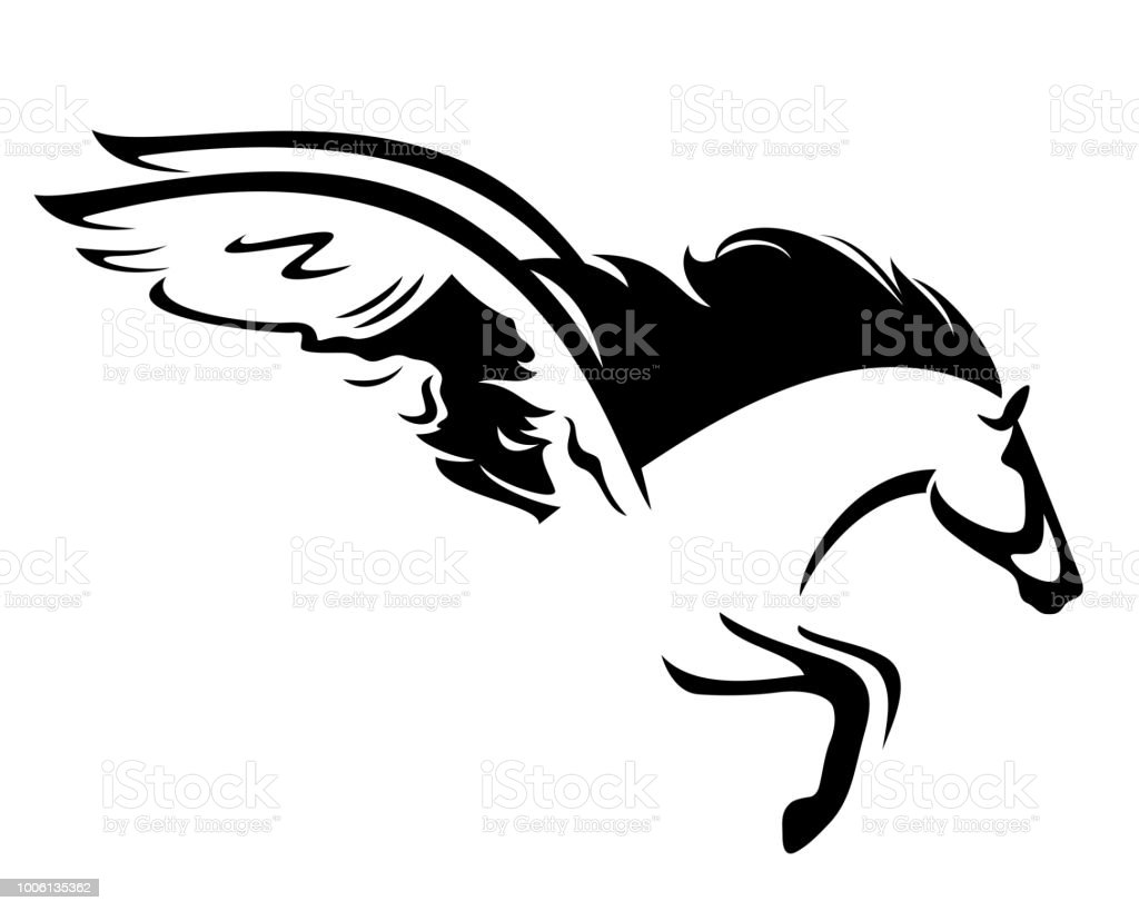 Pegasus Pferd Schwarz Vektordesign Stock Vektor Art Und Mehr Bilder