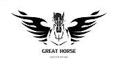 Pegasus Horse in black and white.