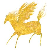 Pegasus Horse. Yellow