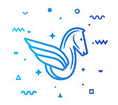 Pegasus outline style icon design with decorations and gradient color. Line vector icon illustration for modern infographics, mobile designs and web banners.