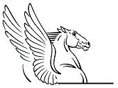 Pegasus logo, emblem .Outline mythological winged horse . Black and white vector