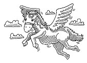 Hand-drawn vector drawing of a Pegasus Mythical Flying Horse. Black-and-White sketch on a transparent background (.eps-file). Included files are EPS (v10) and Hi-Res JPG.