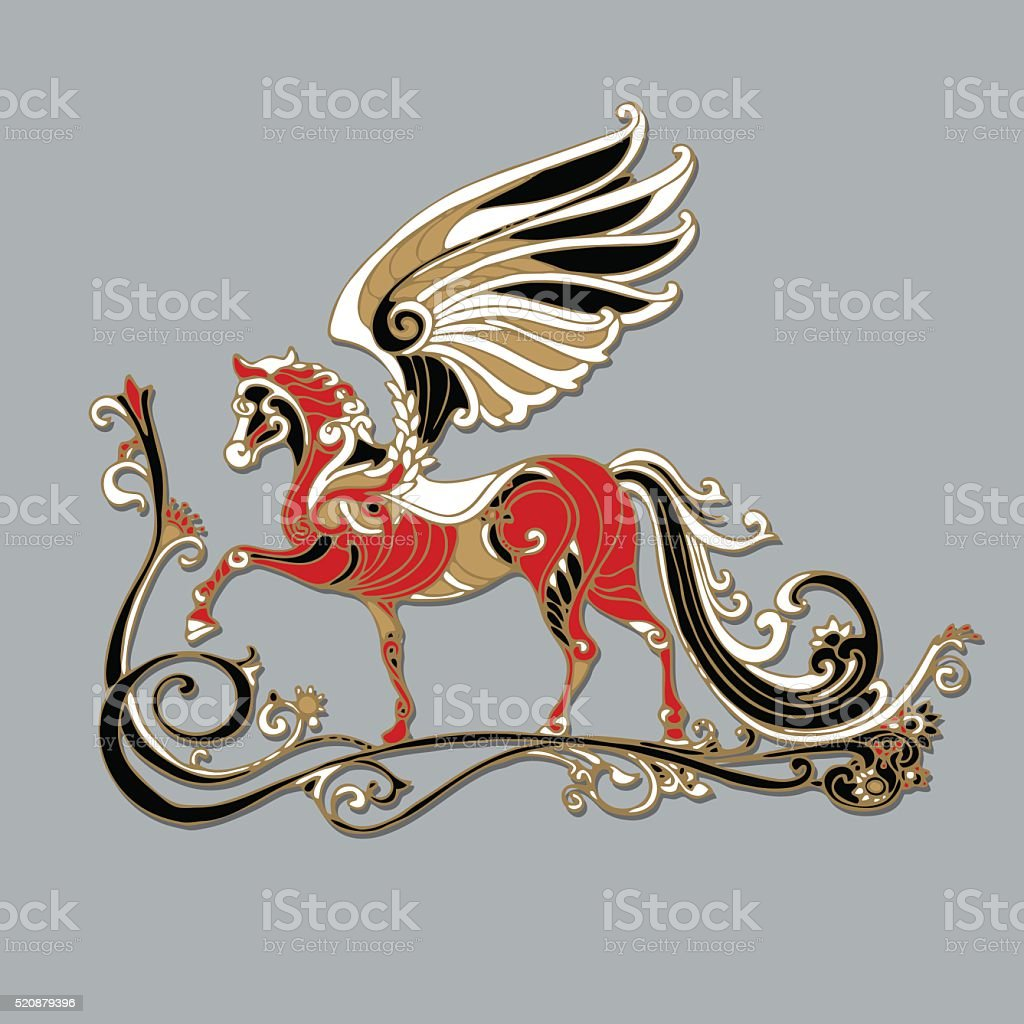 Pegasus Mythical Winged Horse Black And White Tattoo Image Stock Illustration Download Image Now Istock