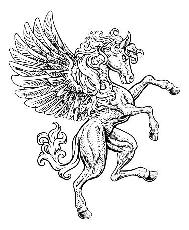 Pegasus Rearing Rampant Wings Coat Of Arms Horse