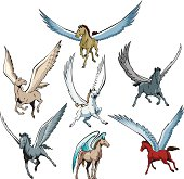Collection of 7 stylized Pegasus drawings. Created with no blends, Adobe Illustrator EPS format.