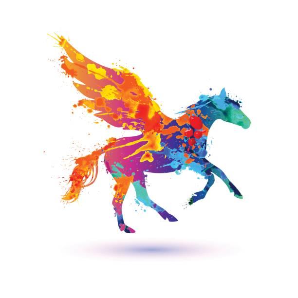 pegasus vector symbol. watercolor splash paint - pegasus stock illustrations