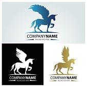 Pegasus design template. Dark horse design concept. Vector illustration