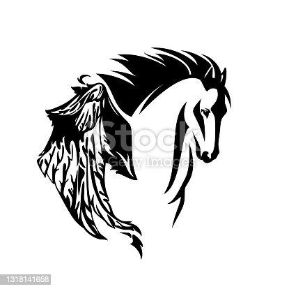 istock pegasus winged horse head black and white vector design 1318141658