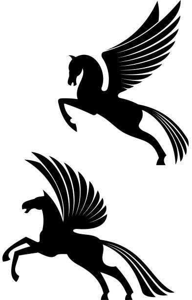 pegasus winged horses - pegasus stock illustrations