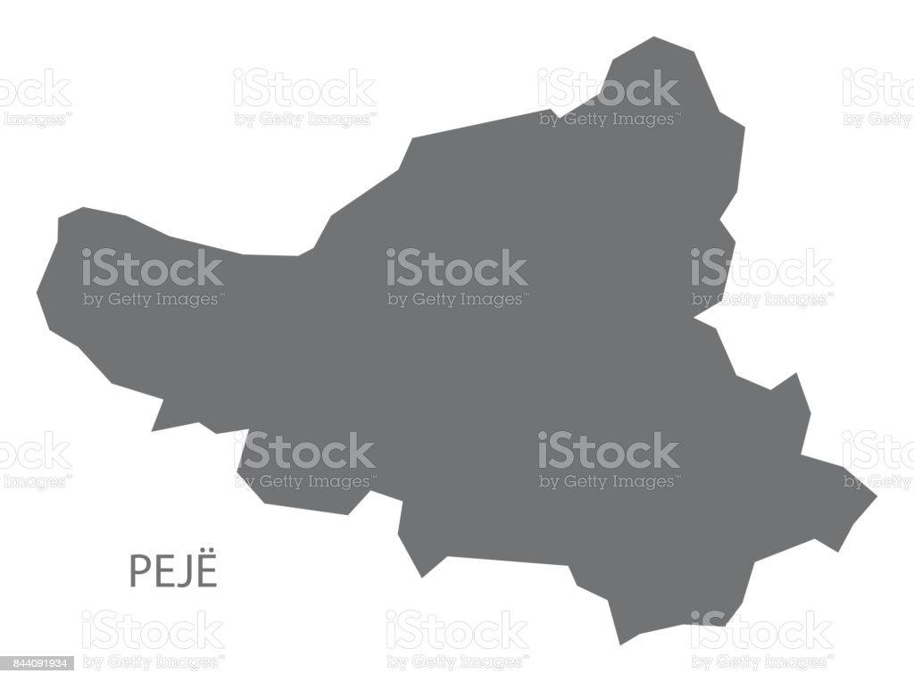 Peja Kosovo Karte.Peje Kosovo Bezirk Karte Grau Abbildung Silhouette Form Stock Vektor