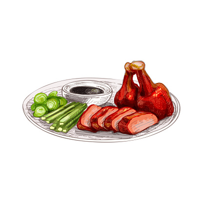 Peking duck with sauce on plate. Vintage vector hatching hand drawn illustration isolated