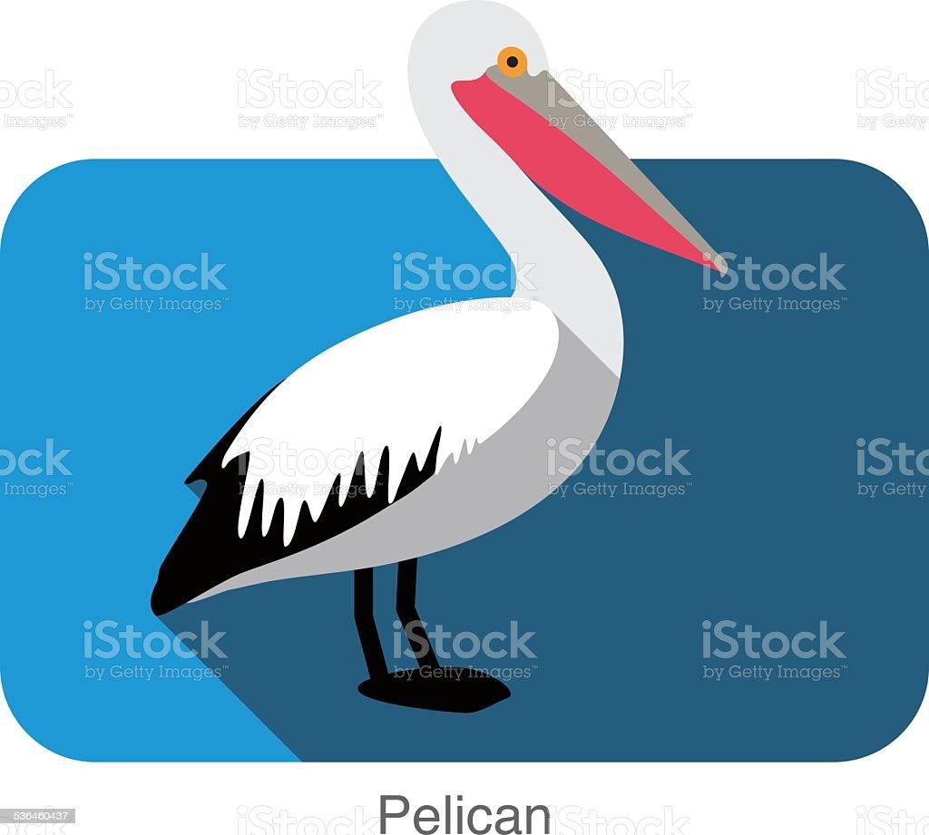 Pelican flat icon design, bird series vector art illustration
