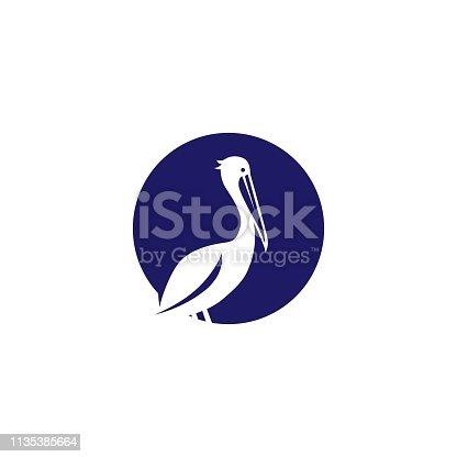 pelican gulf bird coast beach vector icon illustration
