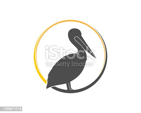 istock Pelican silhouette in the circle 1299871018