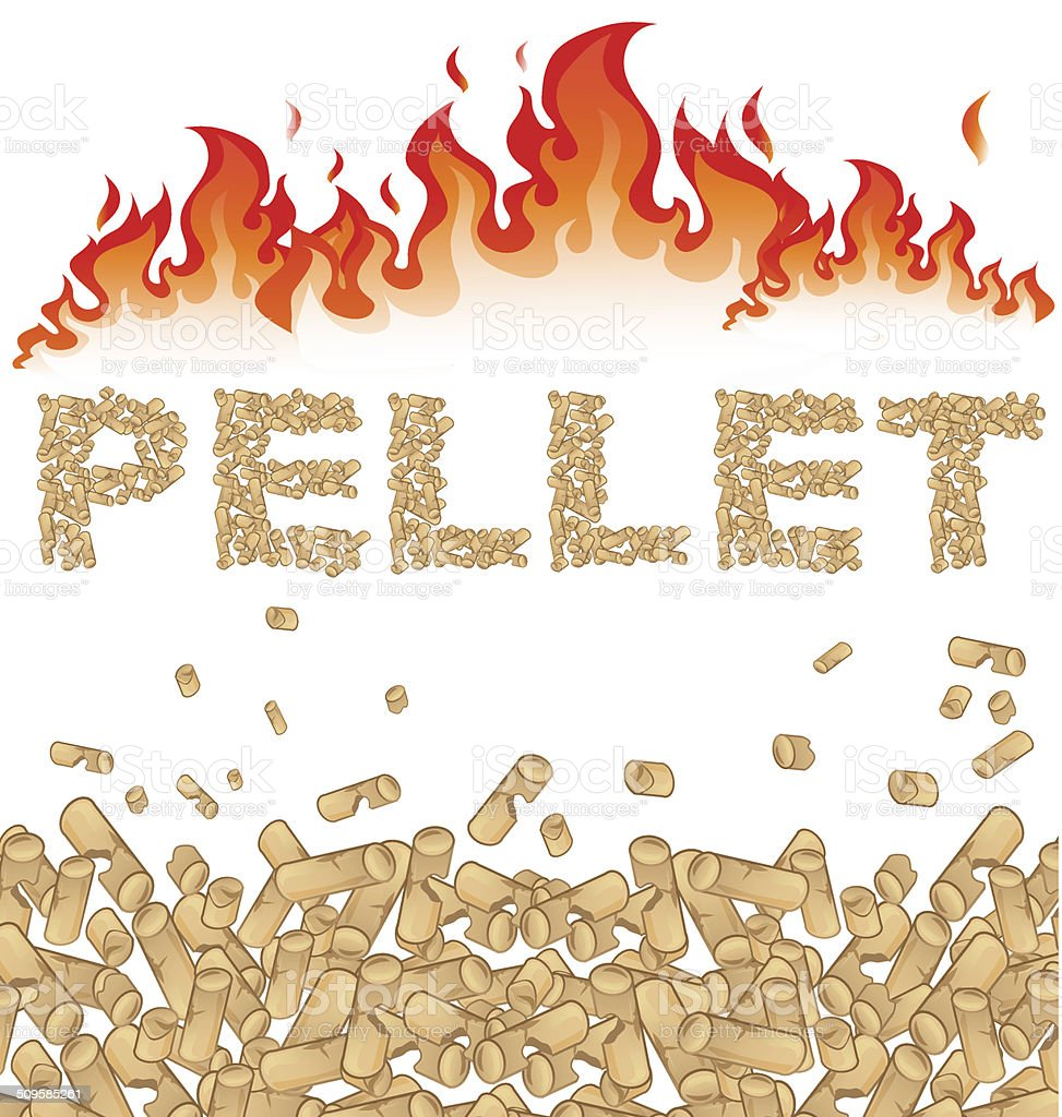 pellet background with fire on white vector art illustration