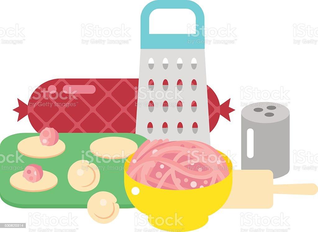 Pelmeni, meat dumplings vector illustration vector art illustration