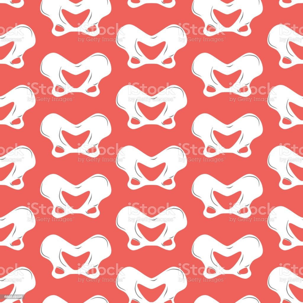 pelvic bones seamless pattern. Bone ornament. Medical anatomy background vector art illustration
